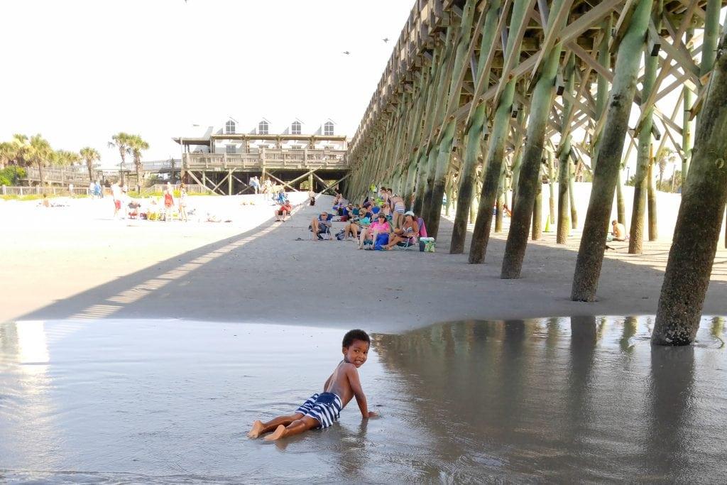 Family travel beach dock