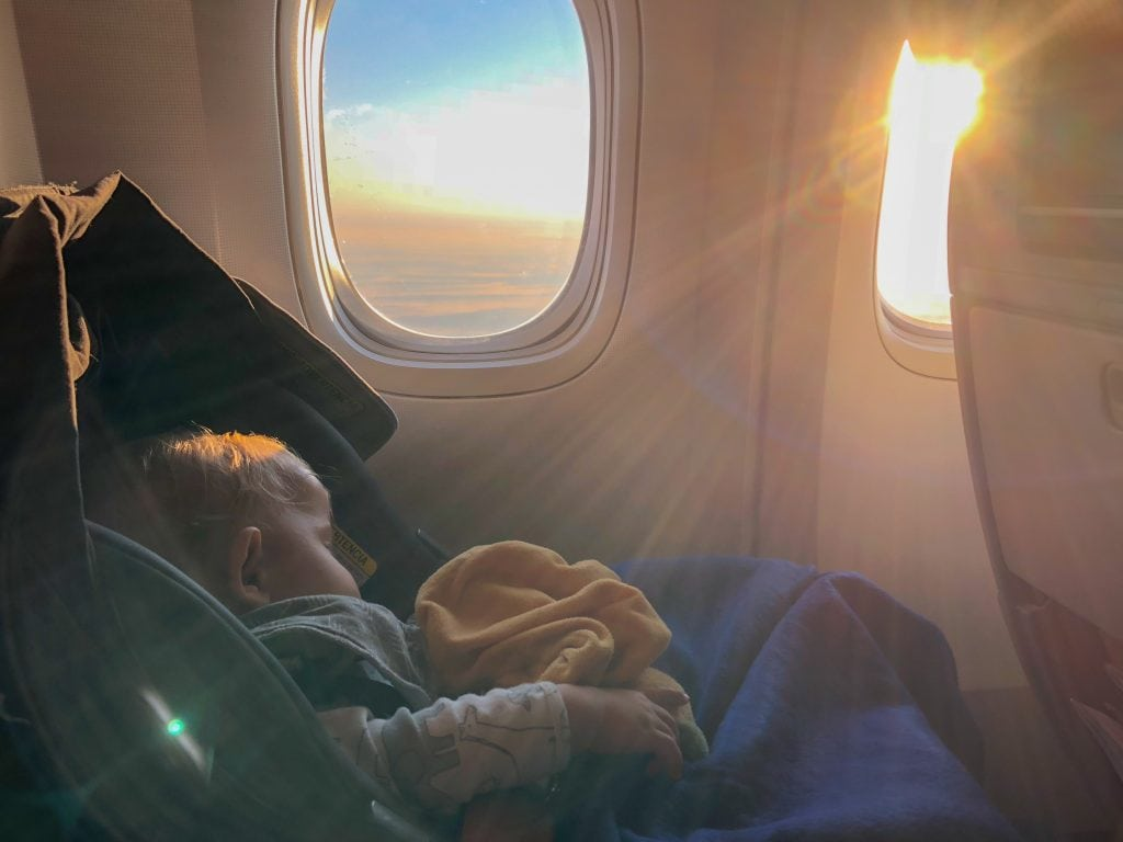 flying with kids: baby on plane