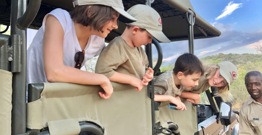 African Safari Holidays: Kids in Namibia in Safari Vehicle