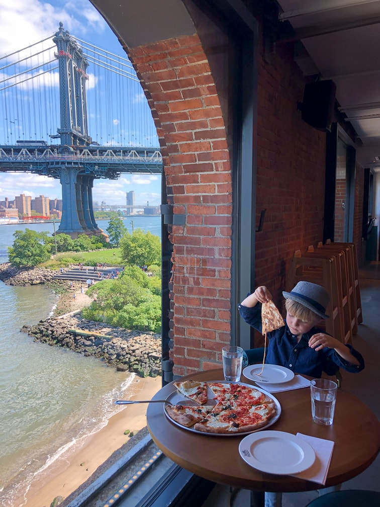 Things to do in NYC with Kids: Enjoying pizza in Dumbo