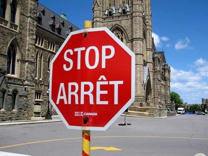 Canada for Kids: Bilingual Stop Sign